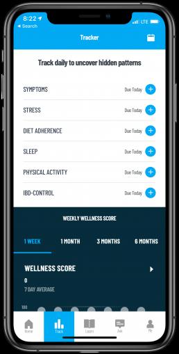 Oshi Track screen shows IBD diet, symptoms of Crohn's and ulcerative colitis