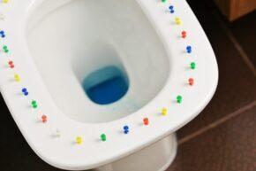 Toilet with thumbtacks representing fistula, hemorrhoids in IBD patients